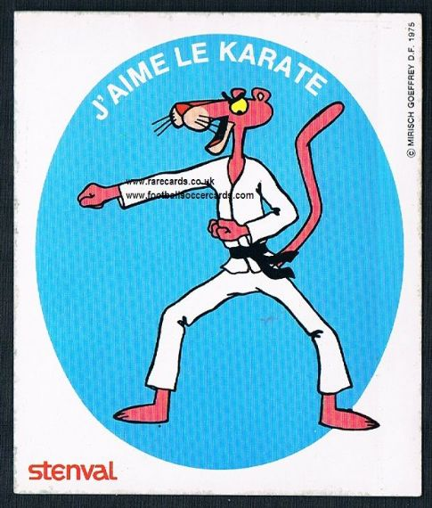 1970's Pink Panther Stenval Karate martial arts sport sticker French trade card